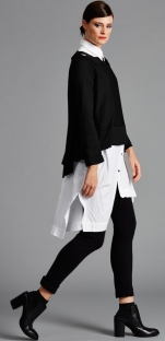 E1671.3053 CIRCULAR TAB TOP 2214.1637 LONG POCKET SHIRT N1764.1658 PONTI PANT